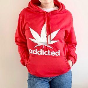 NWT Addicted 420 Adidas style kangaroo Hoodie